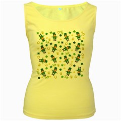 St Patricks Day Pattern Women s Yellow Tank Top