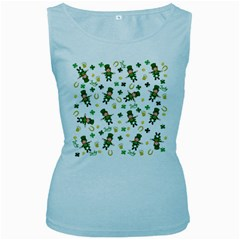 St Patricks Day Pattern Women s Baby Blue Tank Top