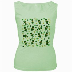 St Patricks Day Pattern Women s Green Tank Top