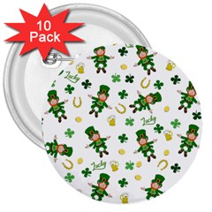 St Patricks Day Pattern 3  Buttons (10 Pack)