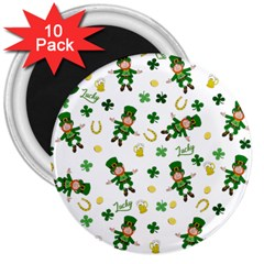 St Patricks Day Pattern 3  Magnets (10 Pack)