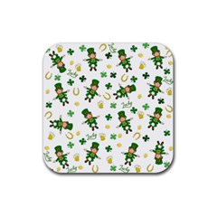 St Patricks Day Pattern Rubber Coaster (square)