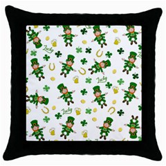 St Patricks Day Pattern Throw Pillow Case (black)