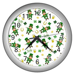 St Patricks Day Pattern Wall Clocks (silver)