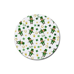 St Patricks Day Pattern Rubber Coaster (round)