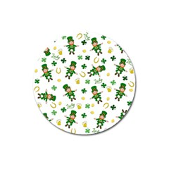 St Patricks Day Pattern Magnet 3  (round)