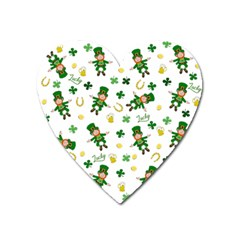 St Patricks Day Pattern Heart Magnet