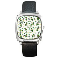 St Patricks Day Pattern Square Metal Watch