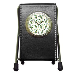 St Patricks Day Pattern Pen Holder Desk Clocks