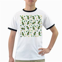 St Patricks Day Pattern Ringer T Shirts