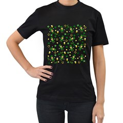St Patricks Day Pattern Women s T Shirt (black) (two Sided)