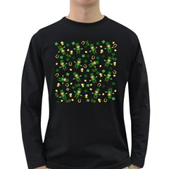 St Patricks Day Pattern Long Sleeve Dark T Shirts
