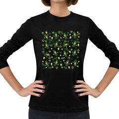 St Patricks Day Pattern Women s Long Sleeve Dark T Shirts