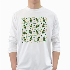 St Patricks Day Pattern White Long Sleeve T Shirts
