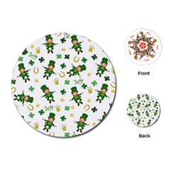 St Patricks Day Pattern Playing Cards (round)