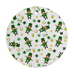 St Patricks Day Pattern Round Ornament (two Sides)