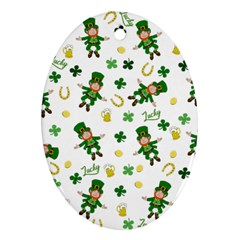 St Patricks Day Pattern Oval Ornament (two Sides)