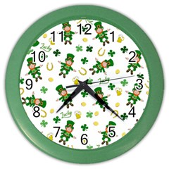 St Patricks Day Pattern Color Wall Clocks