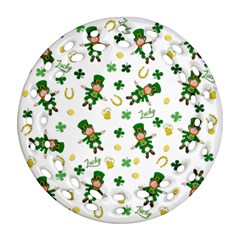 St Patricks Day Pattern Round Filigree Ornament (two Sides)