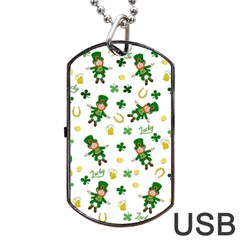 St Patricks Day Pattern Dog Tag Usb Flash (one Side)