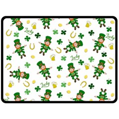 St Patricks Day Pattern Double Sided Fleece Blanket (large)