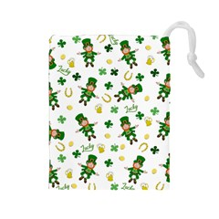 St Patricks Day Pattern Drawstring Pouches (large)