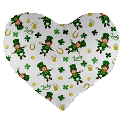 St Patricks Day Pattern Large 19  Premium Flano Heart Shape Cushions