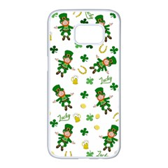 St Patricks Day Pattern Samsung Galaxy S7 Edge White Seamless Case