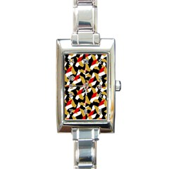 Colorful Abstract Pattern Rectangle Italian Charm Watch