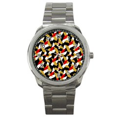 Colorful Abstract Pattern Sport Metal Watch