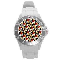Colorful Abstract Pattern Round Plastic Sport Watch (l)