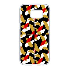Colorful Abstract Pattern Samsung Galaxy S7 Edge White Seamless Case
