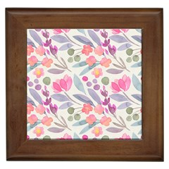 Purple And Pink Cute Floral Pattern Framed Tiles