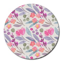Purple And Pink Cute Floral Pattern Round Mousepads