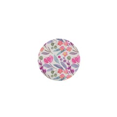 Purple And Pink Cute Floral Pattern 1  Mini Magnets
