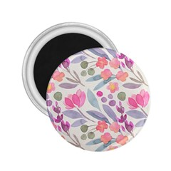 Purple And Pink Cute Floral Pattern 2 25  Magnets