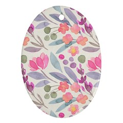 Purple And Pink Cute Floral Pattern Ornament (oval)