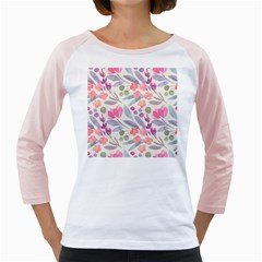 Purple And Pink Cute Floral Pattern Girly Raglans