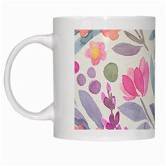Purple And Pink Cute Floral Pattern White Mugs