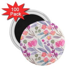 Purple And Pink Cute Floral Pattern 2 25  Magnets (100 Pack)
