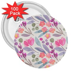 Purple And Pink Cute Floral Pattern 3  Buttons (100 Pack)