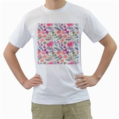 Purple And Pink Cute Floral Pattern Men s T Shirt (white) (two Sided)