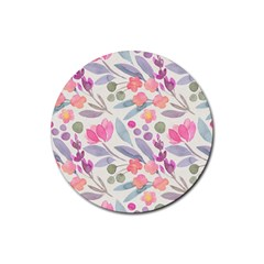 Purple And Pink Cute Floral Pattern Rubber Coaster (round)