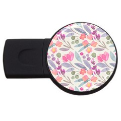 Purple And Pink Cute Floral Pattern Usb Flash Drive Round (2 Gb)
