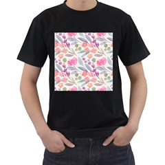Purple And Pink Cute Floral Pattern Men s T Shirt (black) (two Sided)