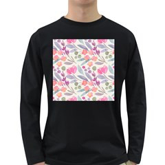 Purple And Pink Cute Floral Pattern Long Sleeve Dark T Shirts