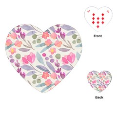 Purple And Pink Cute Floral Pattern Playing Cards (heart)