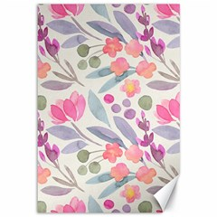 Purple And Pink Cute Floral Pattern Canvas 12  X 18