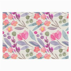 Purple And Pink Cute Floral Pattern Large Glasses Cloth (2 Side)