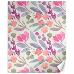 Purple And Pink Cute Floral Pattern Canvas 11  X 14